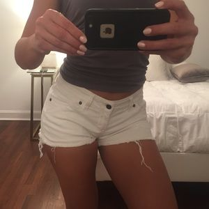 Pants - White jean shorts with raw hem